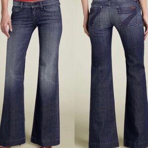 7FAM Dojo Dark Wash Faded Trouser Jeans